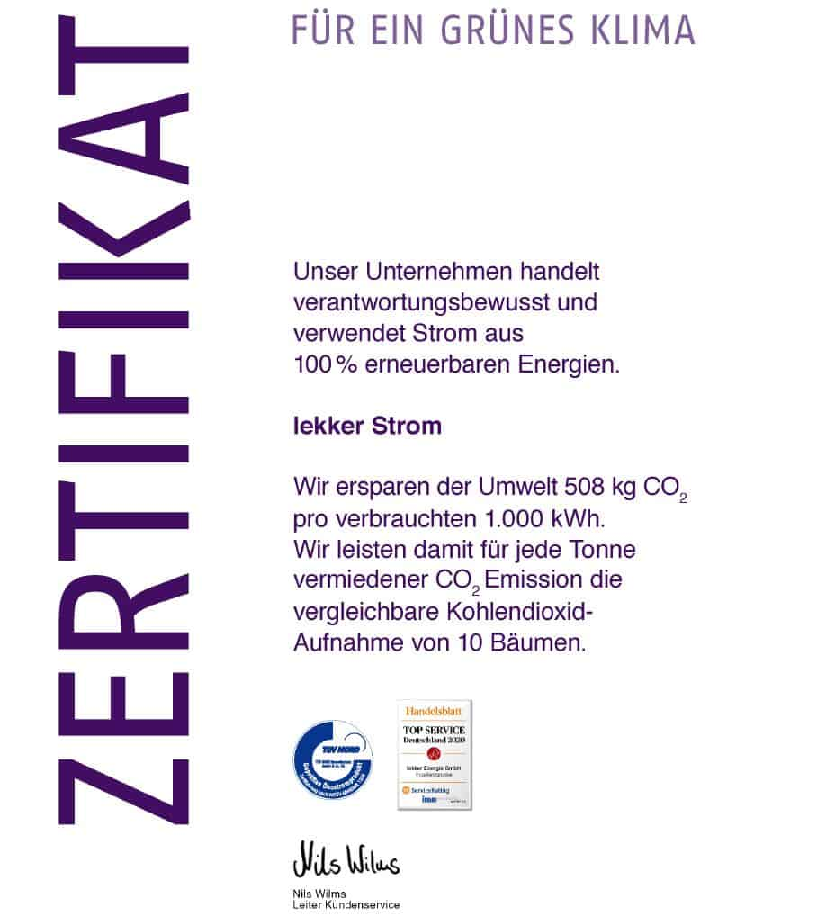 Zertifikat für grünes Klima